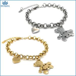 Bracciale da donna braccialetto con cuore orso orsetto in acciaio inox a maglia