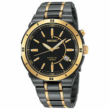Seiko SKA366 Men's Kinetic 100M Two-Tone TICN-Plated Steel Watch New