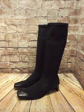Ladies Black Leather & Textile Pull On Mid Heel Long Boots UK 5