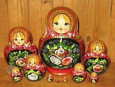 Russian HAND PAINTED nesting doll RED black flowers Matrryoshka 10 signed
