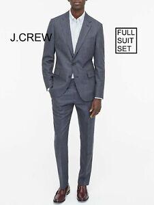 J.CREW Ludlow slim suit glen plaid blue cotton wool 40S blazer jacket 34x32 pant