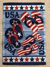Patriotic Flip Flops Usa United States Garden Mini American Flag Banner 12�x18