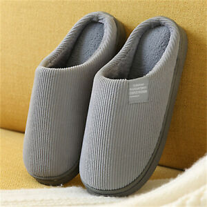 Mens Winter Indoor/Outdoor Slippers Comfort Fuzzy Plush Lining House Shoes