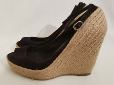 1af1f9413db6 Jean Michel Cazabat Zulaka Black Suede Wedge Heel Peep Toe Espadrilles Size  38.5