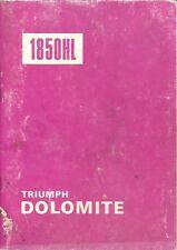 TRIUMPH DOLOMITE 1850HL SALOON ORIGINAL 1978 OWNERS INSTRUCTION HANDBOOK