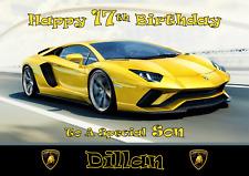 Lamborghini personalised A5 birthday card son daughter grandson nephew name age