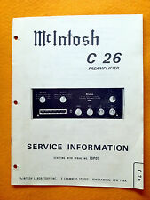 Mcintosh C26 Service Manual (Original Mcintosh Laboratory manual). Used