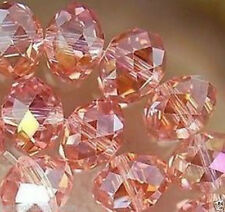 150 Pink AB Crystal Glass Faceted Rondelle Loose Beads 3X4mm