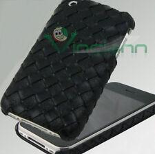 Pellicola + cover eco pelle TRECCIA iPhone 3GS 3G NERA