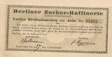 Berliner zucchero raffineria cedola AG 1873 1874 Schickler Oro Uomo scandalo fondatori