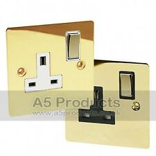 13 Amp Wall Socket Single 1 Gang in Polished Brass Flat