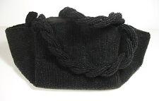 JOSEF VINTAGE BLACK BEADED EVENING BAG