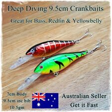 2 Redfin & Bass Fishing Lures, Yellowbelly Trout Flathead Cod Bream Deep Diving