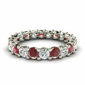 2.03 Ct Real Diamond Ruby Wedding Band 14K Solid White Gold Rings Size M N O P Q