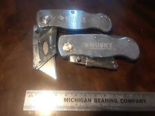 Pair of Husky folding, Locking Utility Knives, Silver