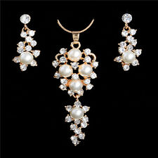 Alluring Pearl Crystal Jewelry Set Wedding 18K Gold Plated Necklace Earrings