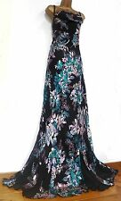 MONSOON ✩  STUNNING ACAPULCO BLACK SILK DEVORE MAXI EVENING DRESS  ✩  UK 18 ✩