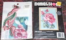 "DIMENSIONS PINK ROSES  #6644 NO COUNT CROSS STITCH  5"" X 7""  KIT EASY, QUICK FUN"