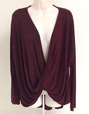 MICHAEL STARS Heathered Burgundy & Black Infinity Wrap Draped Knit Top