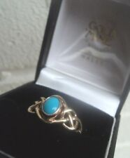 Clogau Welsh 9ct Yellow & Rose Gold Turquoise Celtic Ring h/m 1992  - size S