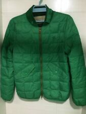 $795 Burberry Brit Down-Filled Quilted Bomber Green Jacket Sz M
