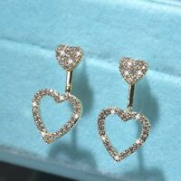 18k yellow gold made with SWAROVSKI crystal love heart ear jacket stud earrings