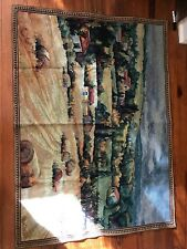 """Beautiful Huge Farm Scene 35""""x 48""""Tapestry with rod holes in top and bottom."""