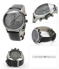 NIB Emporio Armani Chronograph Gray Face Black Leather Strap Mens Watch AR0388