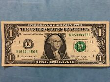 """LADDER """"3456"""", PAIRS """"3 & 4"""" $1 Dollar Bill UNIQUE SERIAL NUMBER """"K 05334456 E"""""""
