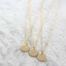 Simple Letter Round Pendant Chain Necklace Women's Jewelry Party Gift Little