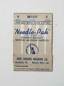 VINTAGE USA FREE SEWING MACHINE CO. LOT 4 NEEDLES - NEEDLE-PAK - BB1221 SIZE 2