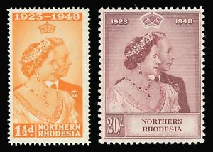 Northern Rhodesia 1948 KGVI Silver Wedding set MNH cat £120. SG 48-49. Sc 48-49.