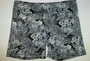 IAB MFG I Am Becoming Gray Black Floral Compression Shorts 12 (XL) NWOT