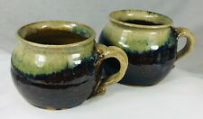 2 Studio Pottery Mugs Signed Vintage Brown Grey Blue Glaze Coffee Soup Chili