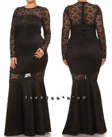 Plus Size Black Floral Lace Mesh Mermaid Ruffle Maxi Dress Gown