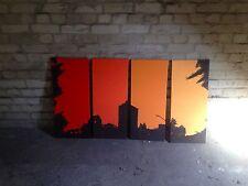 LEINWAND GRAFFITI BILD AUF LEINWAND ACRYL 4 TEILE a 30x70 cm Wohnung Dekoration