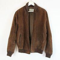 Vintage L.L. Bean Men's Brown Suede Leather Bomber Jacket Freeport, Maine Sz 42L