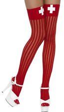 Ladies Sexy Red Striped Naughty Nurse Role Play Fancy Dress Stockings Socks