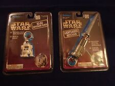Star Wars Lightsaber Keychain & R2-D2 Key Chain Clock Tiger Electronics *NEW*