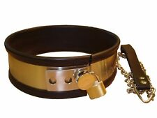Rubber trimmed Metal collar with lead  (CO-01-MET),  FREE UK DELIVERY