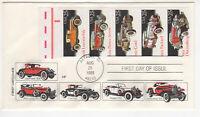 SSS: House Farnam FDC 1995  25c  Classic Cars   BK5  5 on 1   Sc #2381-85