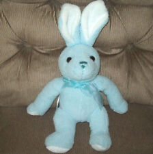 Blue Soft Plush Bunny Rabbit White Ear Paw Pads Blue Bow Brown Eyes Sewn Nose