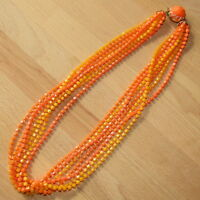 Vintage Multi Strand Necklace Bright Orange Yellow RETRO Statement Signed