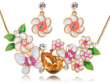 Tropical Gold Tone New Crystal Element Enamel Flower Earring Necklace Set