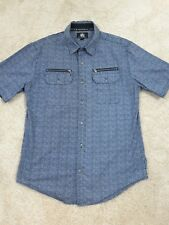 Rock & Republic Men's Size S Short Sleeve Shirt  100% Cotton 2 zip Pockets