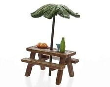 NEW  FAIRY GARDEN MINIATURE - Fairy Picnic Table with Palm tree sun shade - 8cm