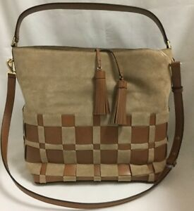 NWT MICHAEL KORS Vivian Large Hobo Bag Woven Suede & Leather Color Shell/acorn