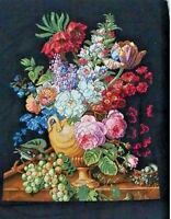 """LARGE LUXURY Finished completed Cross stitch""""Flower and grape""""home decor gifts"""
