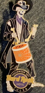 Hard Rock Hotel TULSA 2011 HALLOWEEN STAFF PIN Skeleton Drummer - HRC #74410
