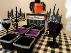 SPOOKY HALLOWEEN 13 Piece PARTY PACK NUT CUPS-CANDLEABRA-GOBLET-PAPER MACHE BOX